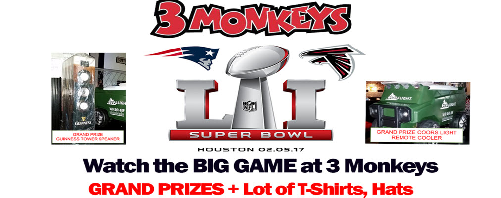 3 Monkeys Big Game Party 2017