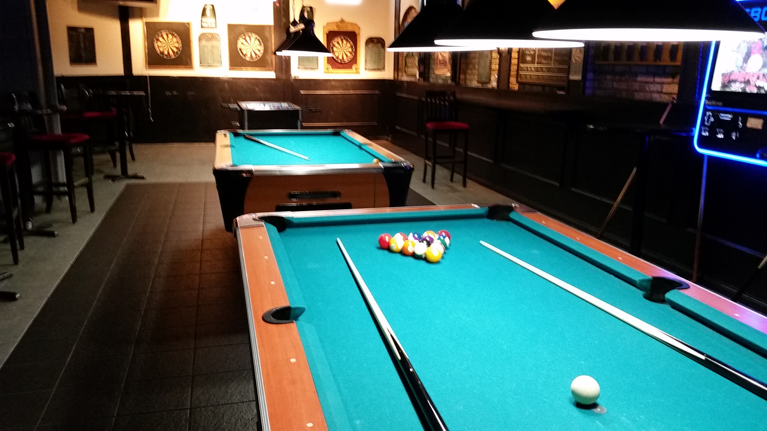 3 Monkeys Bar & Grill Pool Table and Jukebox area